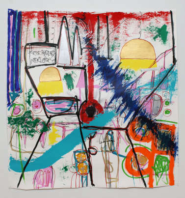 FreeRadicals 377x403 Free Radicals Interlopers, painting on paper 50x55 inch