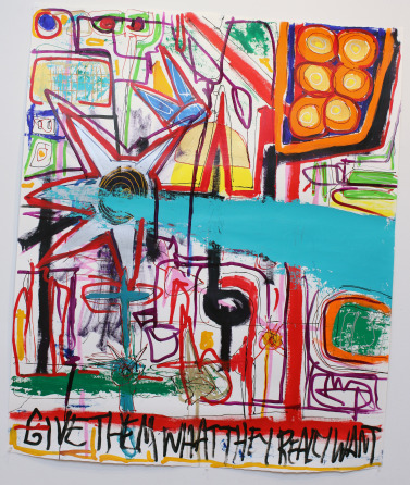 WhatTheyWant 377x446 Give Them What They Want, painting on paper 50x60inch